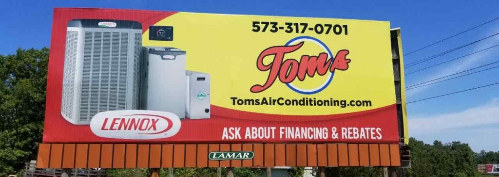 Billboard in Osage Beach advertising Tom's Air Conditioning