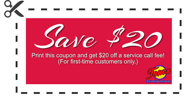 Coupon to save $20 on air conditioning or heating system service call.