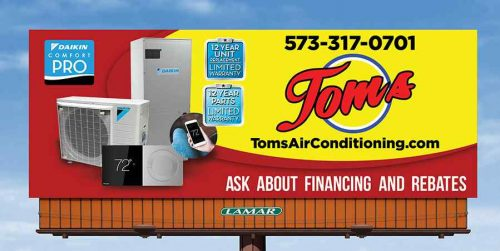New billboard for Toms Air Conditioning & Heating at Lake of the Ozarks
